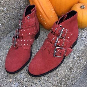 Topshop Krown boots ankle red leather suede new 6